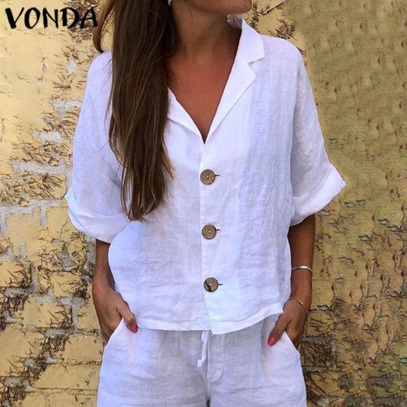 VONDA fiesta Tops verano Sexy cuello pico 3/4 manga Camisas Casual suelta sólido Partido Tops de talla grande Bohemian botón Blusas S-5XL Top