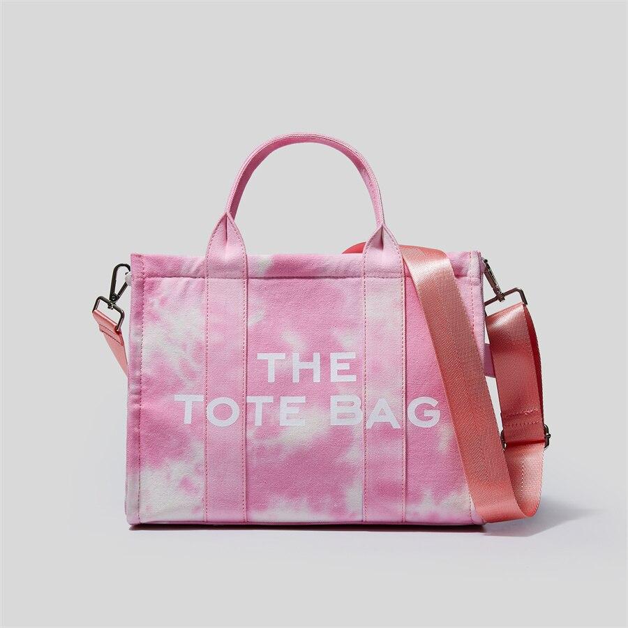 Luxury Brand Designer Pink Shoulder Shopper Bags for Women Canvas Ladies Top Handle Bag Laptop Fashi