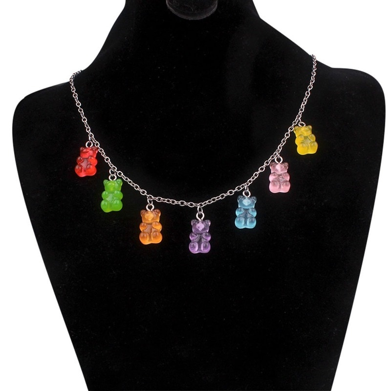 7 Colors Rainbow Pride Cute Jelly Bear Gummy Necklaces for Women Girls Cool Punk Hip Hop Resin Neckl
