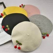 Spring Autumn Japanese Retro Mori Handmade Cherry Wool Beret Sweet Girl Beret Kawaii Korean Style Painter Hat