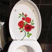 YOJA     autocollant mural romantique 15 3CM    24 8CM  branche de Rose  a la mode  decoration de toilette  accessoires de WC  pour maison  T1-2612