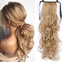 DIANQI sintetico 22 pollici lungo ondulato allungato coda di cavallo parrucca clip coda di cavallo resistente al calore per capelli estensioni delle donne