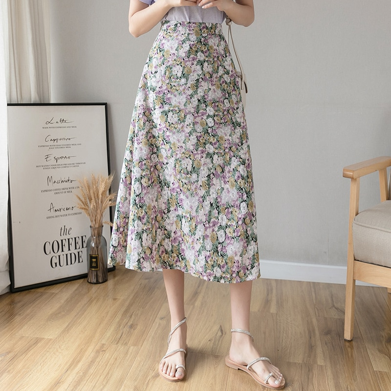 Capucines 2020 faldas de moda con estampado Floral de verano para Mujer Faldas de playa informales con cintura elástica Falda Midi elegante para mujer de talla grande