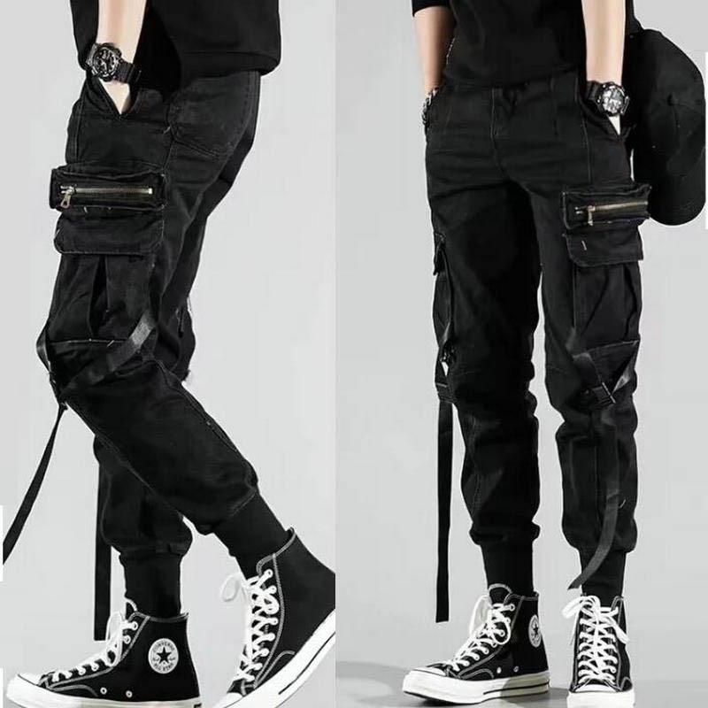 Men's Side Pockets Harem Pants 2021 Autumn Hip Hop Casual Ribbons Design Male Joggers Trousers Fashion Streetwear Pant Black