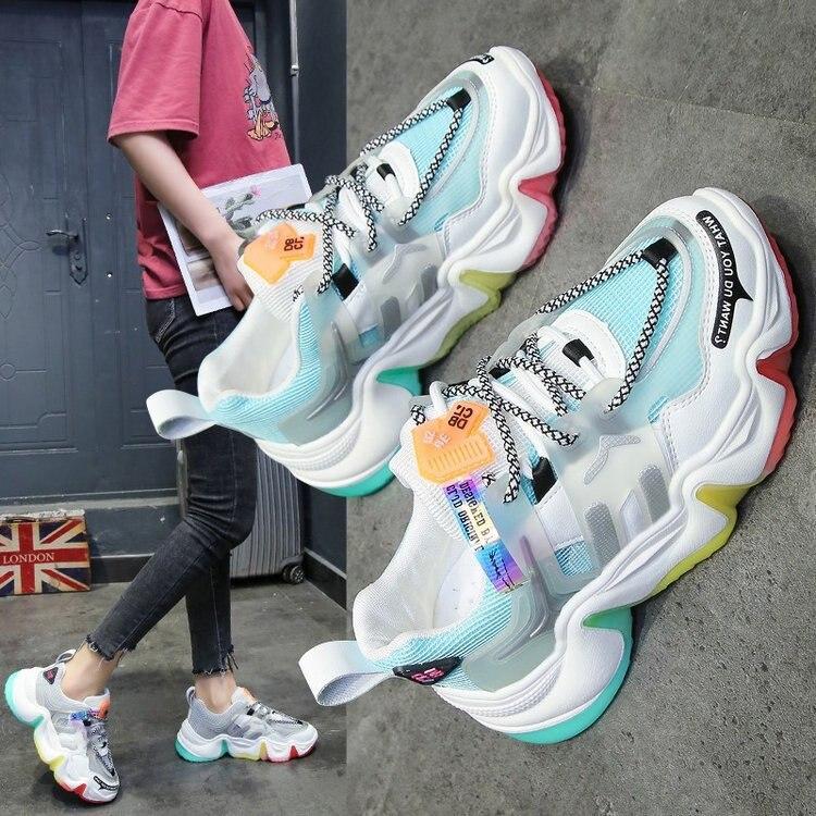 حذاء رياضي نسائي بنعل هلام قوس قزح ، حذاء رياضي ، ربيع ، موديل جديد ، صيفي