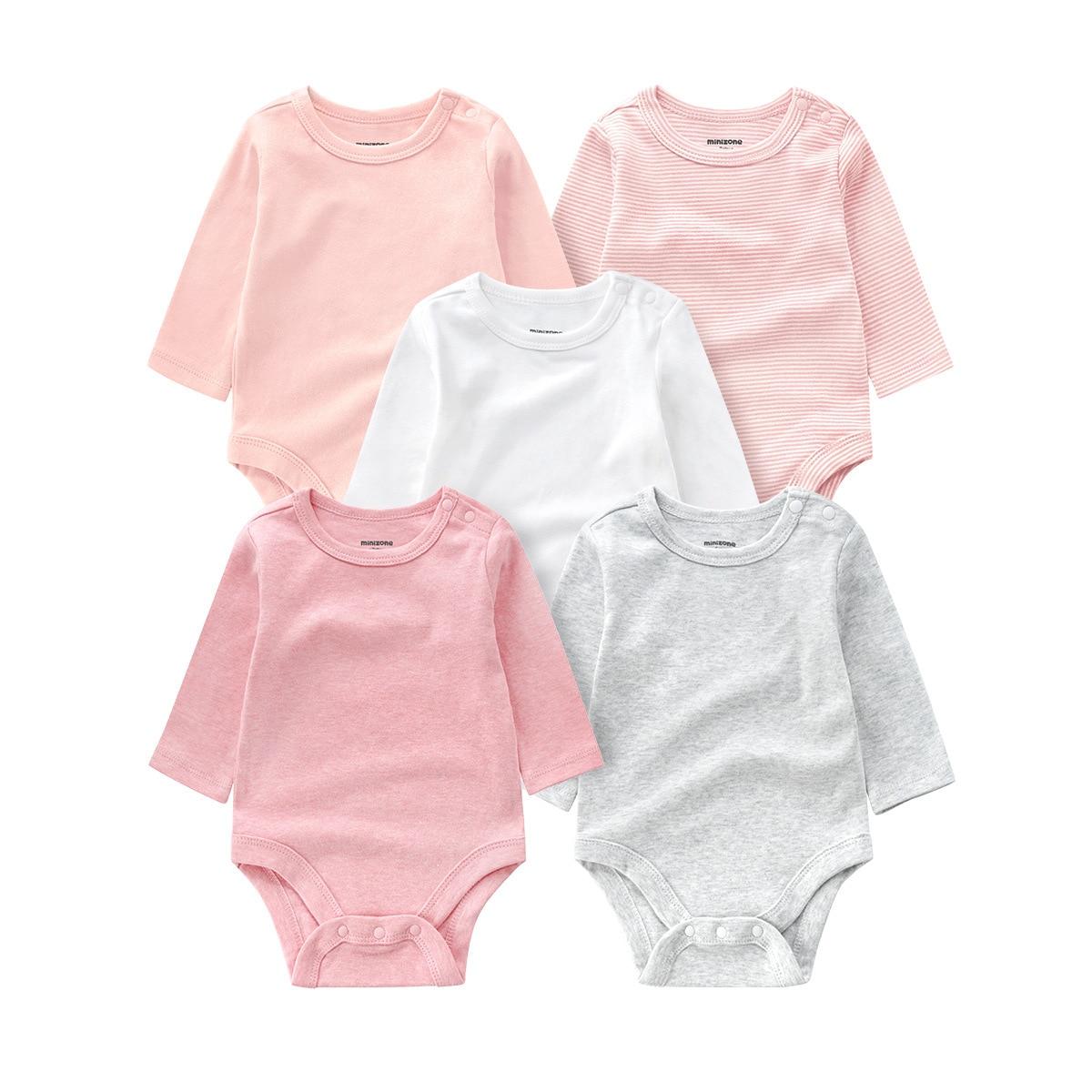 5 pçs outono novo traje infantil casual bebê recém-nascido menino manga longa bodysuit sólido puro algodão o pescoço roupas para 0-24m