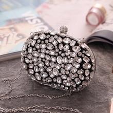 Black Color Embroidery Diamonds Small Clutch Purse Egg Design Rhinestones Bling Luxury Female New Pa