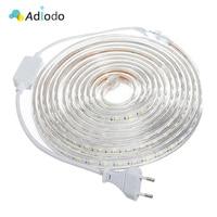 Светодиодная лента 220 В, гибкая уличная Водонепроницаемая LED полоска 5050 60 светодиодов/м, 1 м/2 м/3 м/5 м/8 м/10 м/15 м/20 м/25 м