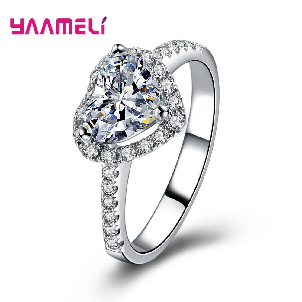 Newest 925 Sterling Silver Charming Love Heart Sparkling  Zircon  Rhinestone Ring For Women Girls Bijoux Lover Wedding Accessory