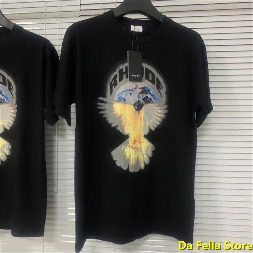 Rhude T-shirt Erde Frieden Pigeon Logo Druck RHUDE T-shirts 2020 Männer Frauen Hip Hop adler T innen tag label Oversize tops