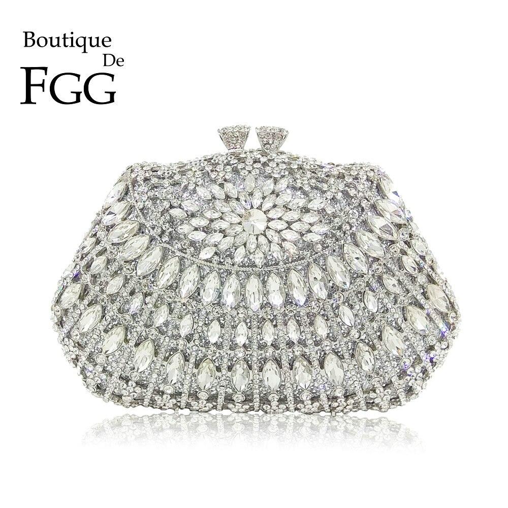 Boutique De FGG-محافظ كريستال فضية مخرمة للنساء ، حقائب سهرة ، حقيبة يد صغيرة لحفلات الزفاف