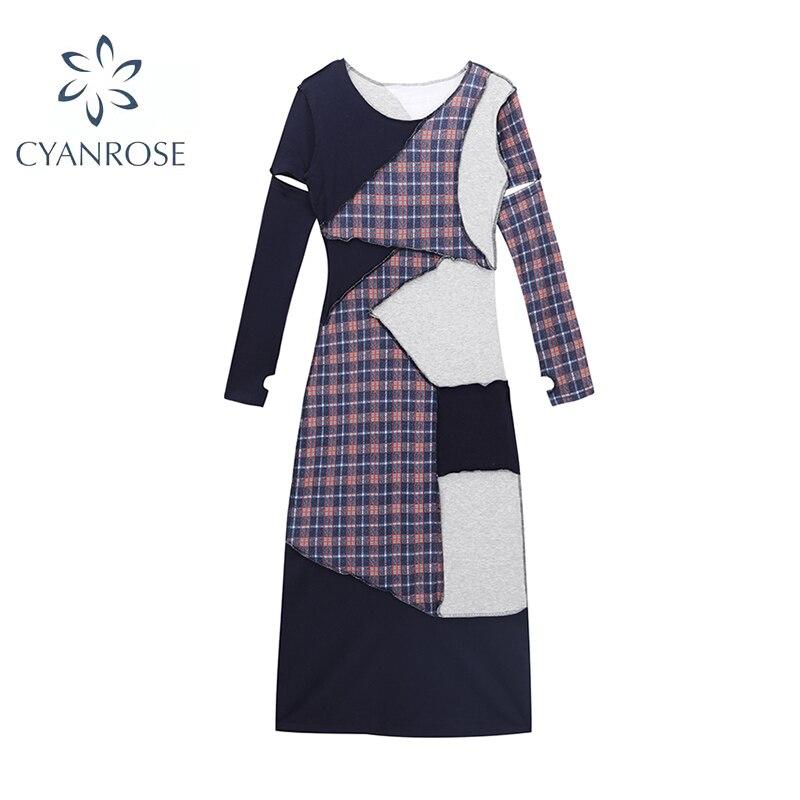 2021 Autumn New Fashion Vintage Plaid Irregular Spliced Women Dress Long Sleeve O-Neck High Waist Elegant Temperament Chic Dress