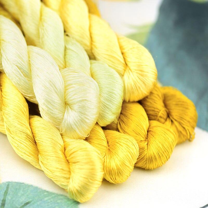 1 Uds./400m hilo de seda bordado/hilo de seda de 100%/bordado a mano punto de cruz/serie amarilla/7 colores puros