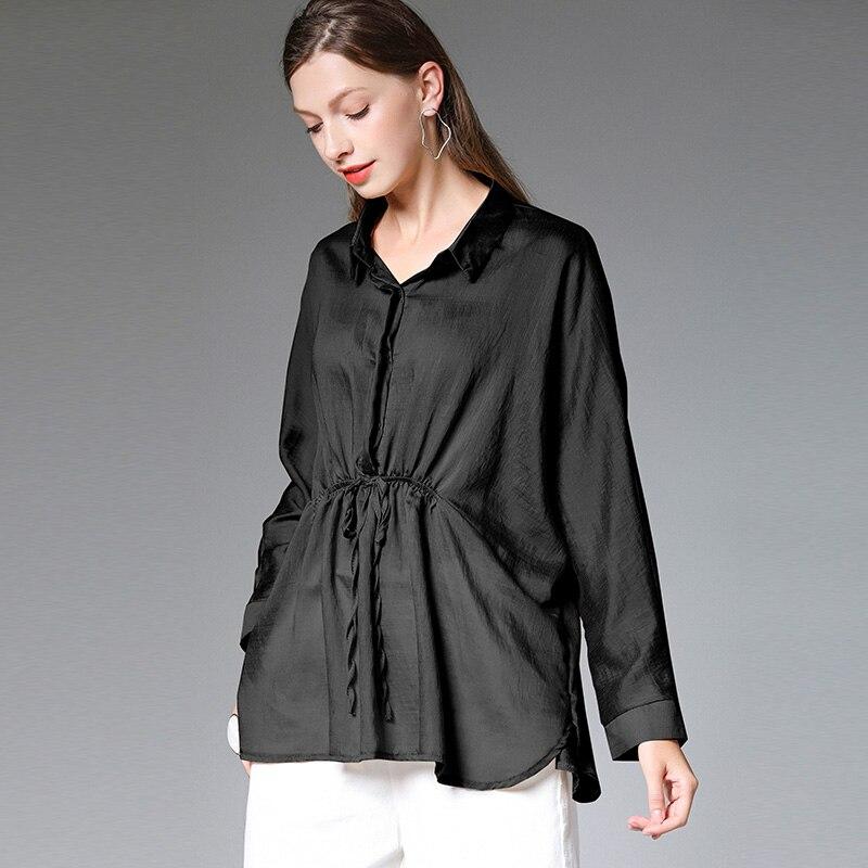 كبيرة الحجم السيدات 2019 الخريف المبكر جديد قمصان فضفاضة تظهر رقيقة مفتوحة شوكة ايوسل قمم طويلة الأكمام بدوره إلى أسفل طوق قميص أسود