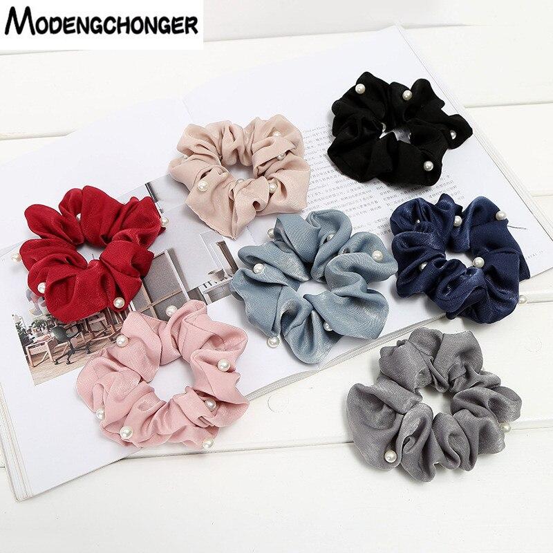 1PCS New Korean Fashion Pearl Hair Scunchies Large Intestine Circle Fabric Hair Ring Small And Fresh Hair Roop Hair Accessories