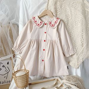 Pastel clothes 2020 autumn new girls long-sleeved dress children's embroidery lapel puff sleeve elegant princess dress 2-7 years
