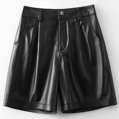 2021 Women New Fashion Genuine Real Sheep Leather Shorts H46