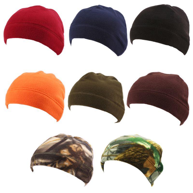 Gorro cálido de invierno para hombre, de lana de imitación, redondo, de melón, camuflaje, de Color sólido, a prueba de viento, militar, táctico, gorro de calavera
