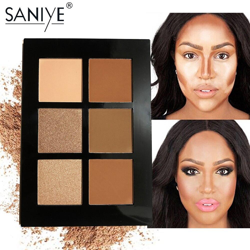 SANIYE cara resaltador en polvo de brillo y brillo Contorno polvo de Contorno bronceador mate paleta de maquillaje E0615