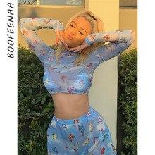 BOOFEENAA Butterfly Print Sheer Mesh Long Sleeve Shirt Women Fall Clothes Graphic Tees Sexy See Through Tshirt Crop Tops C67-G33