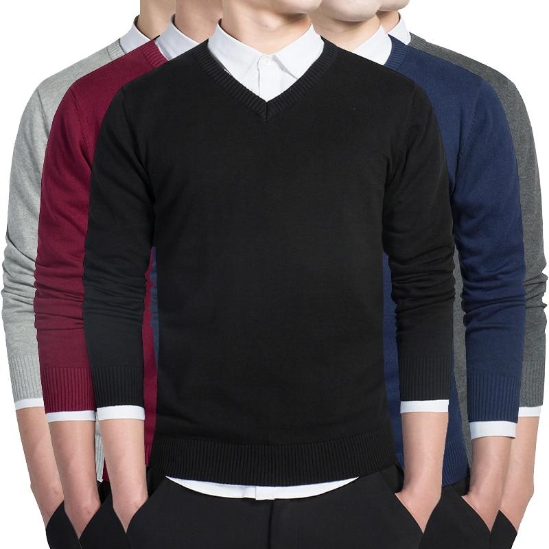 Мужской свитер, Повседневный пуловер с V-образным вырезом, мужские облегающие свитера с длинным рукавом, вязаный мужской свитер, мужской сви...