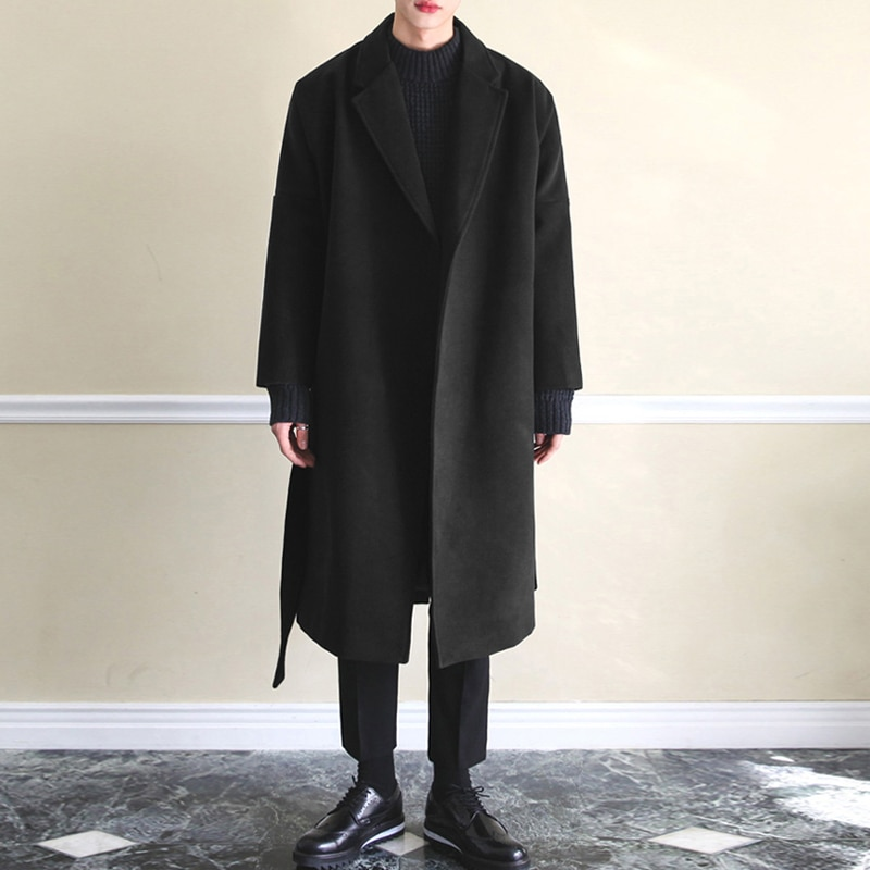 M-4XL Winter Men Coats Warm Fake Wool Jackets Plain Long Sleeve Trench Coat Streetwear Fashion Men L