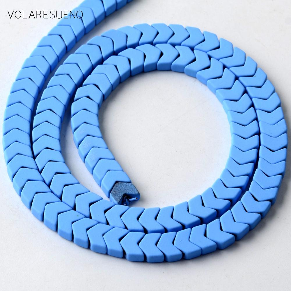 Natural Sky Blue Rubber Hematite Stone Arrows Beads Matte Space Loose Beads For Jewelry Making Diy B