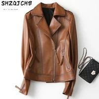 shzq spring and autumn new sheep leather leather clothes womens short suit collar locomotive leather clothes