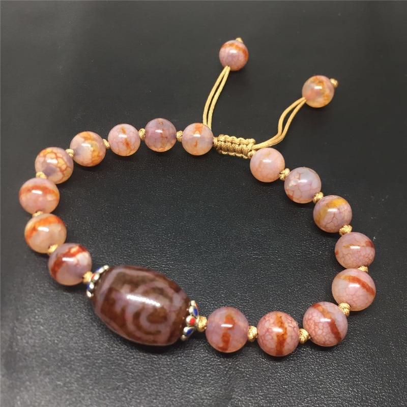 Nova chegada red fine dzi grânulos pulseira ajustável pulseira de jóias vaso tesouro padrões e faixa contas boa qualidade