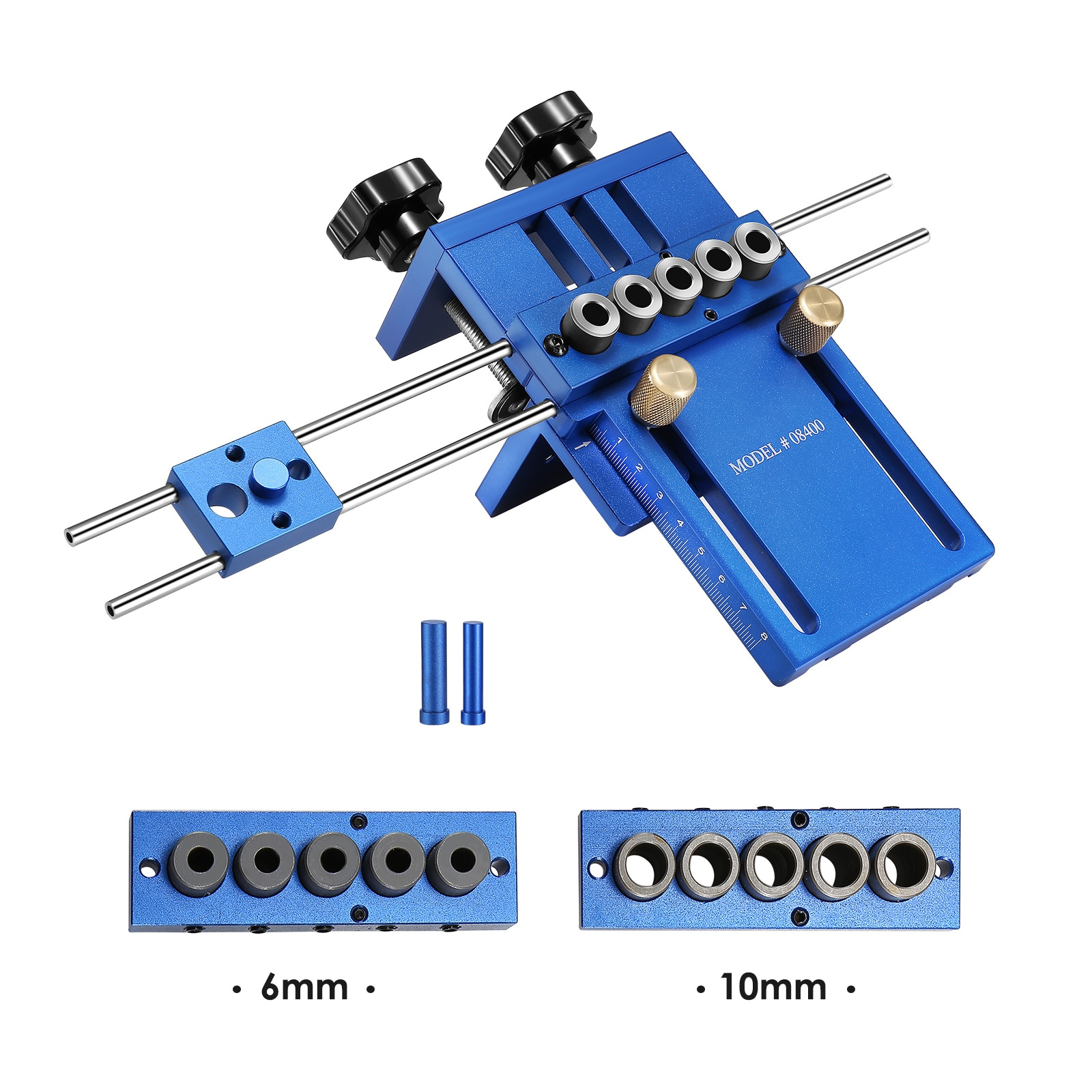 3-in-1 Drilling Hole Positioners Dowel Drilling Sleeves Tool Box Woodworking Doweling Jig Set 6/8/10mm Wood Punching Tool Parts