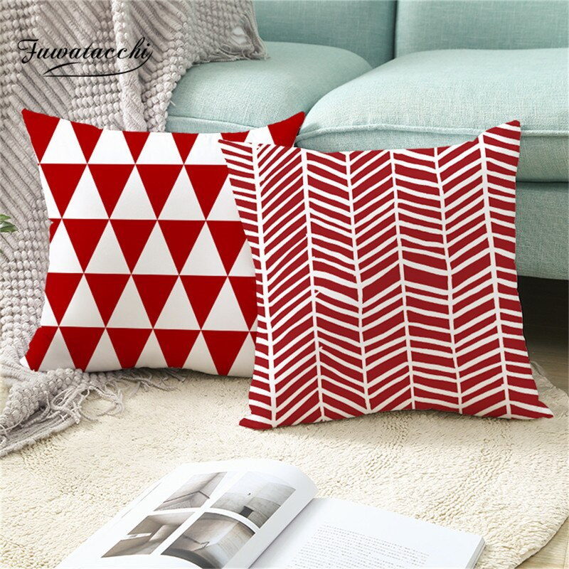Fuwatacchi Geometric Red Geometric Pillow Cover Stripe Cushion Cover For Home Sofa Decorative Throw Pillowcase Pillows 45x45cm