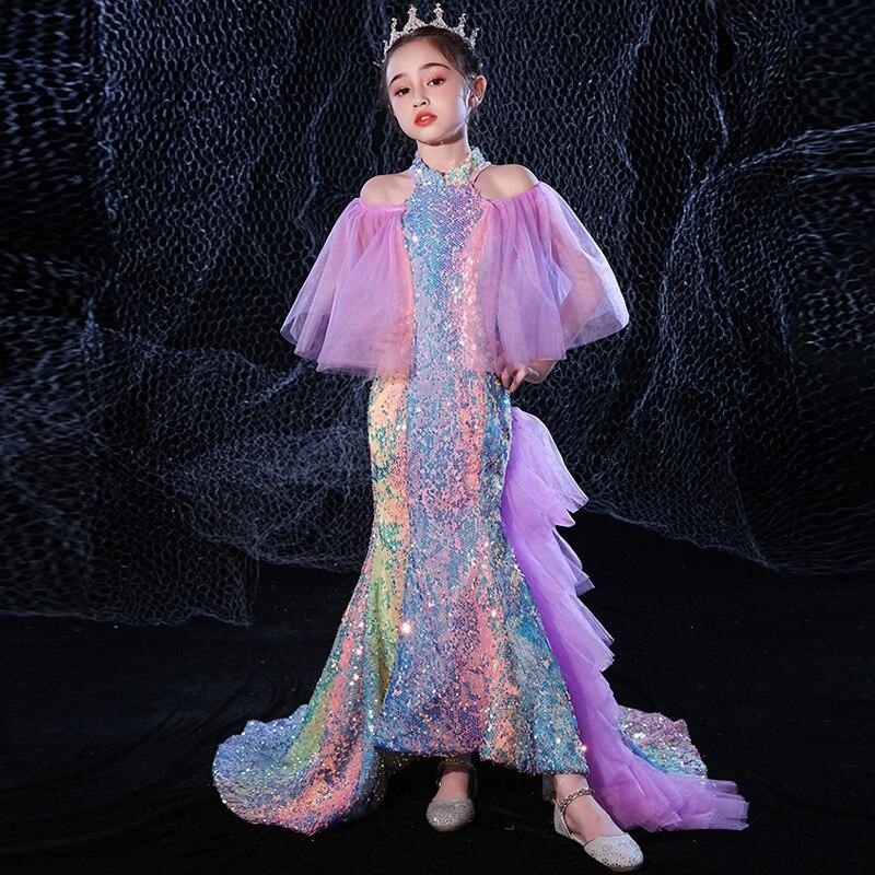 Big Kids Color Sequin Mermaid Dresses for Girls Size 3 To 14 Formal Evening Gowns Children Party Elegant Cocktail Wedding Dress enlarge