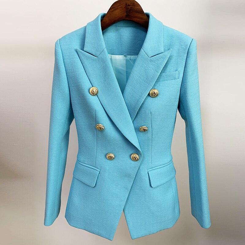 HIGH STREET Newest 2021 Runway Designer Blazer Women's Classic Lion Buttons Double Breasted Slim Fitting Textured Blazer Jacket