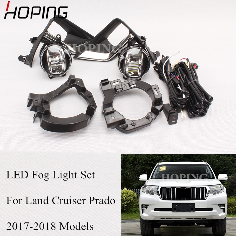 Juego de luces antiniebla LED de parachoques delantero para Toyota Land Cruiser Prado 2017 2018 LED halógeno antiniebla juego de cables