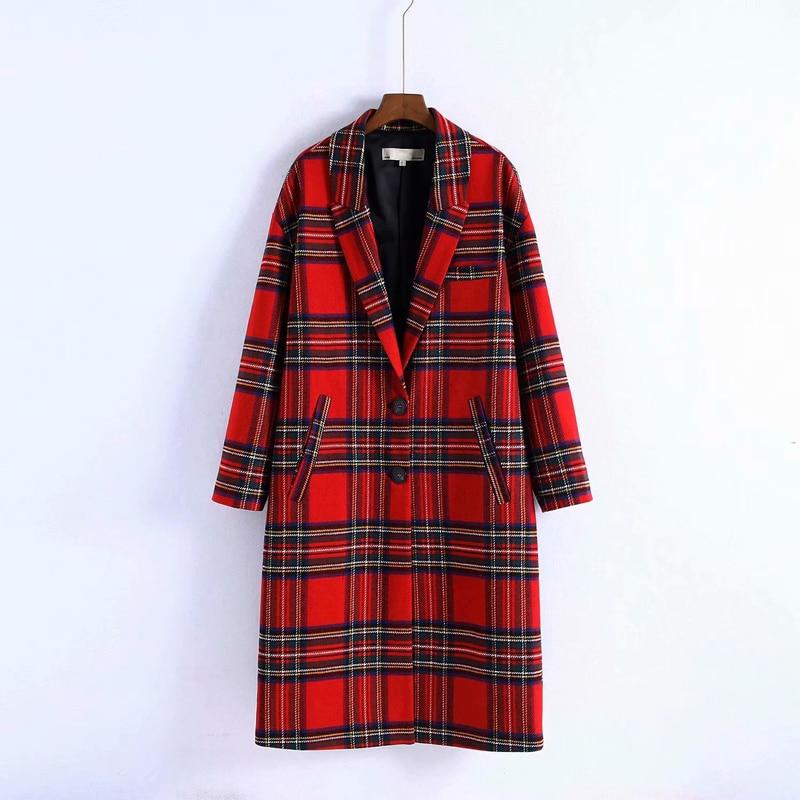 Mujer 2020 Vintage invierno rojo tartán abrigo largo de lana de un solo pecho femenino de cintura ancha abrigos de lana chaqueta Parka