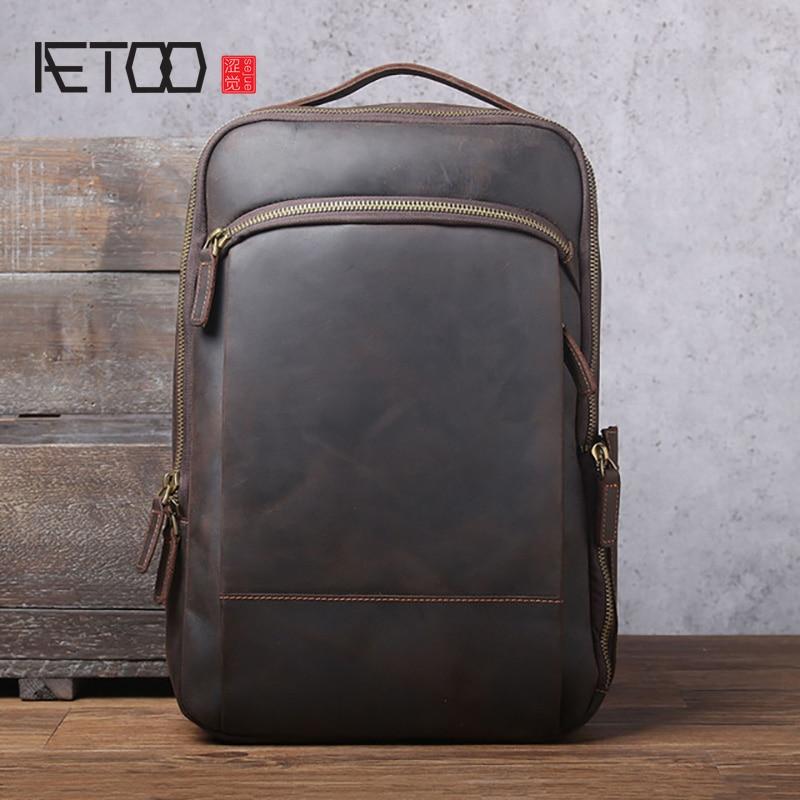 AETOO-حقيبة كتف جلدية عادية للرجال ، حقيبة ظهر جلدية على شكل حصان ، حقيبة سفر مصنوعة يدويًا