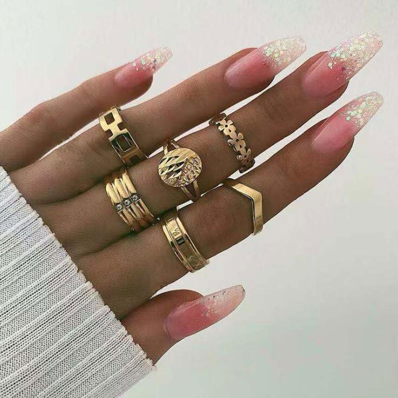 docona Punk Gold Color Greek alphabet Tai Chi Ring Set for Women Girl Metal Geometric Knuckle Midi Rings Set Anillos  9076