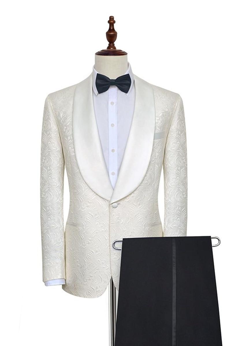 Handsome Embossing Groomsmen Shawl Lapel Groom Tuxedos  Men Suits Wedding/Prom/Dinner Best Blazer(Jacket+Pants+Tie) 024
