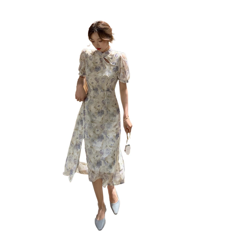 Cheongsam Dress Women's Floral Short Sleeve Dress with Stand Collar Slim Split Maxi Dresses for Women Vestido Feminino