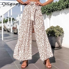 Miguofan dot print pants Casual women high waist wide leg pants tassel belt loose boho trousers female long cotton pants 2020 za
