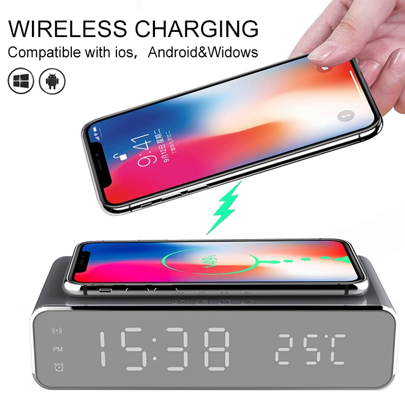 Fast Charger USB Digital LED Desk Alarm Clock Wireless Charging Smart Power Banks For IPhone 11 Pro