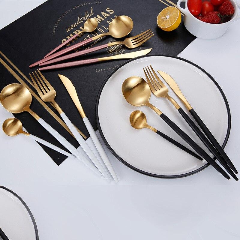 Juego de cuchillos y tenedor de acero inoxidable 304, cubertería 4 unids/set de cubiertos negros con caja, tenedor de mesa, cuchara, cuchillo, juego de cubiertos