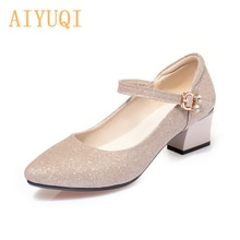 AIYUQI Women Fashion Shoes 2021 Thick Heel Pointed Mid Heel Women Spring Shoes Shiny Large Size 41 4