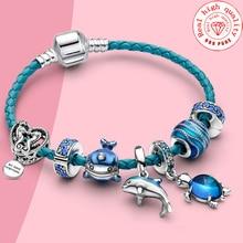 2020 Summer Blue Glass Turtle Starfish Sea Horse  Charm Bead Fit Original Brand DIY Ocean Series Jewelry Silver Color Bracelets