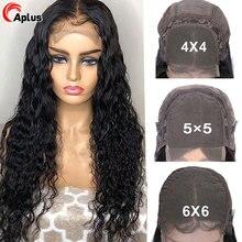 Perruque Lace Closure Wig naturelle ondulée   Cheveux humains, 5x5 6x6, 28 30 pouces, sans colle, 4x4, densité 180, pour femmes africaines