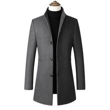 Men's woolen coat Autumn Winter 30% Wool Thick Coats Stand Collar Male Fashion Wool Blend Jackets Ou