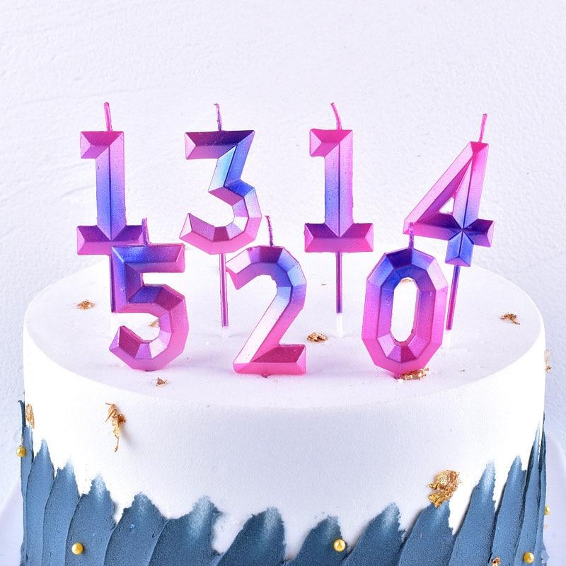 1 шт. креативные красочные свечи на день рождения 1 2 3 4 5 6 7 8 9 0, детские свечи на день рождения для торвечерние, праздничные украшения, свечи дл...