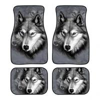 jun teng gray background wolf head personality printing design wear resistant anti dirty rubber material 42pcs car foot mat