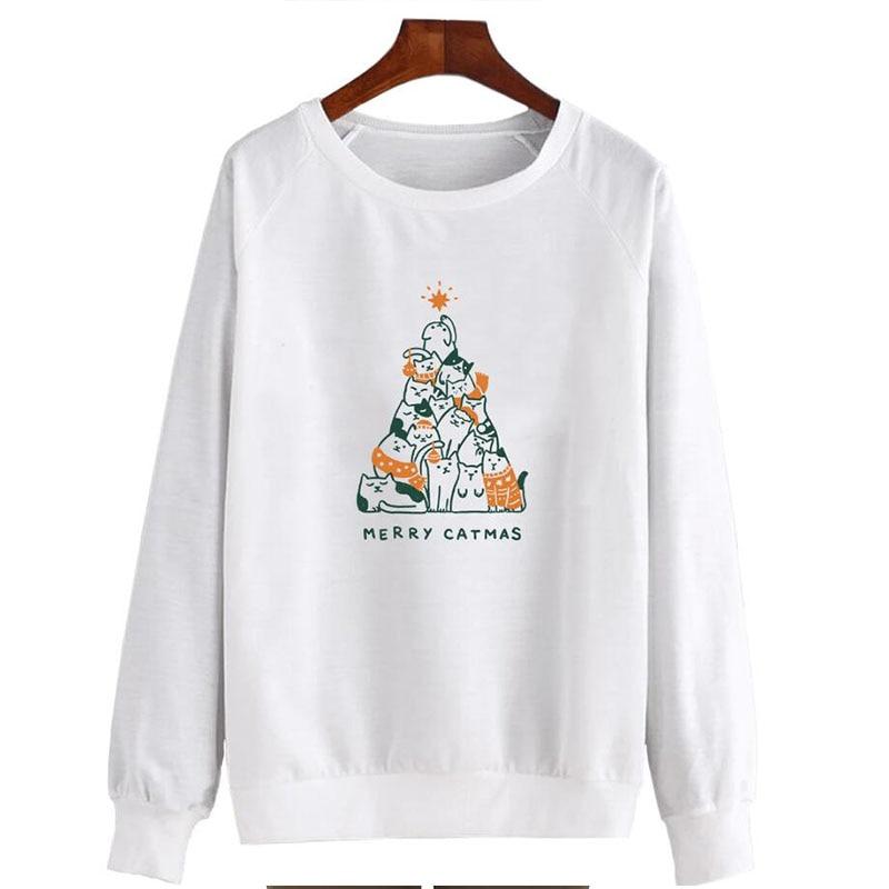 Feliz Catmas divertida sudadera Harajuku para mujer estético gato Miau Pullover Navidad chica Kawaii Festival ropa Dropshipping
