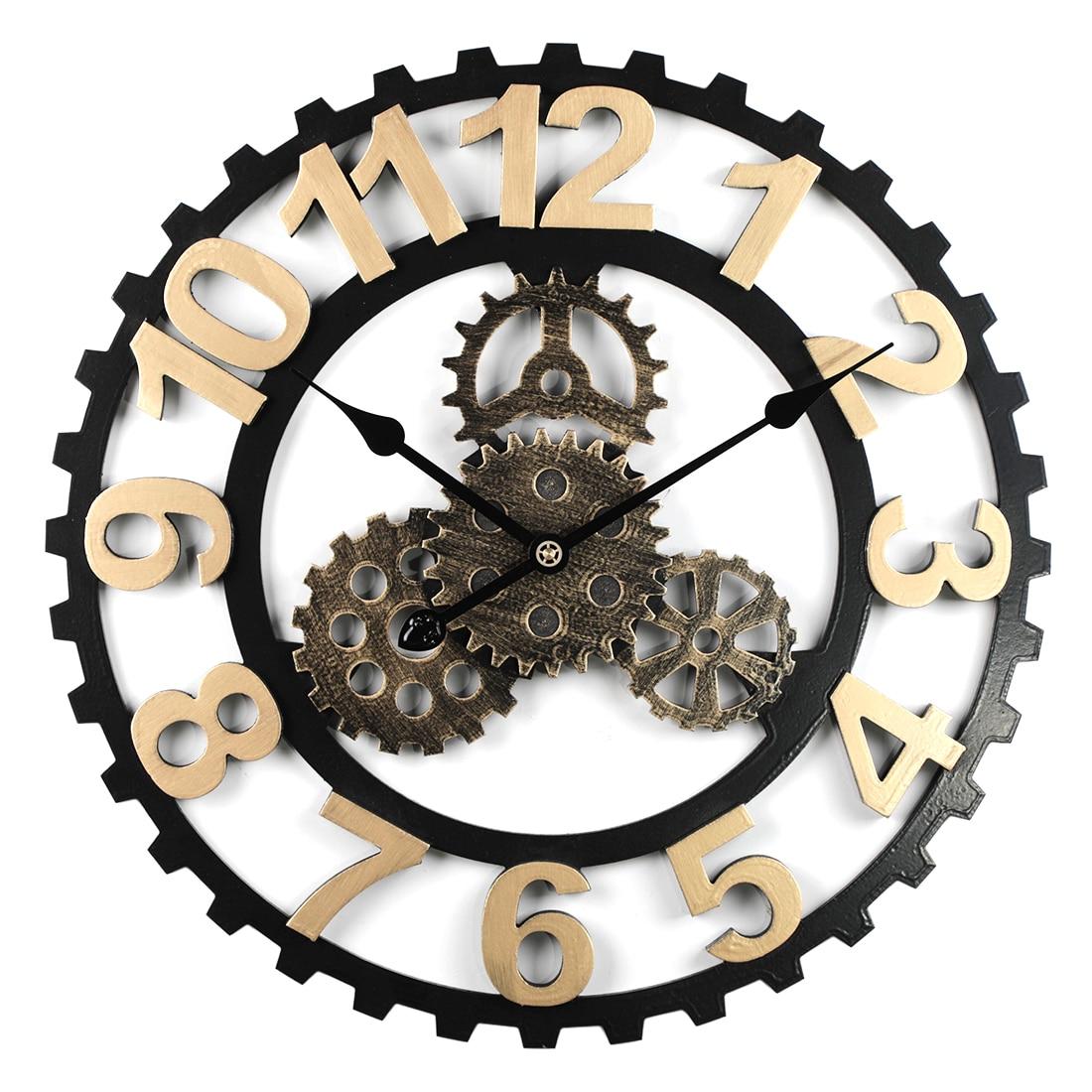 Gran oferta, reloj de pared silencioso con números de engranaje Retro de 40/50 cm, diseño moderno para la decoración de la sala de estar del hogar, dorado y plateado